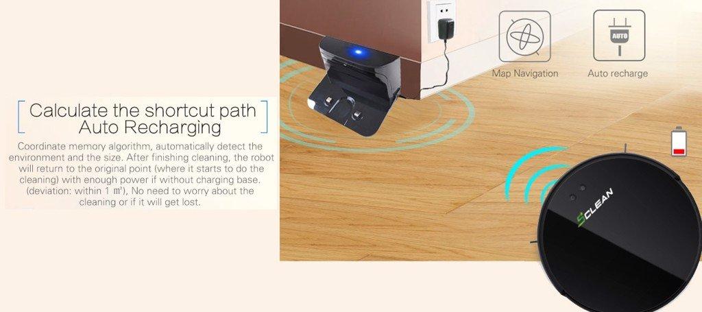 Robot sẽ tự động quay về dock sạc khi hết pin